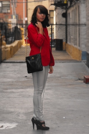 red wool JCP blazer - black mary jane Colin Stuart shoes