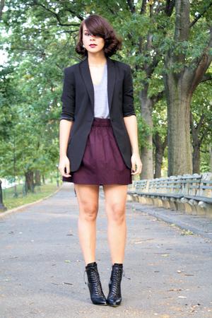 Norma Kamali blazer - American Apparel t-shirt - Jcrew skirt - Prada boots