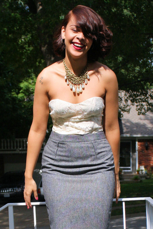 Forever 21 top - vintage skirt - Topshop necklace