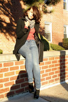 red Gap sweater - gray American Apparel scarf - black banana republic coat