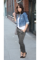 blue denim Gap jacket - black pumps bcbg  max azria shoes