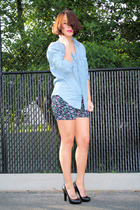 Silence  Noise shorts - black pumps calvin klein shoes - blue denim Gap shirt