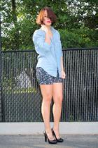 Silence  Noise shorts - black pumps calvin klein shoes - blue denim Gap shirt