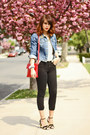 Black-skinny-topshop-jeans-blue-denim-bdg-jacket-red-dkny-purse