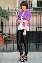 purple ruffled Topshop jacket - black strappy Luichiny shoes