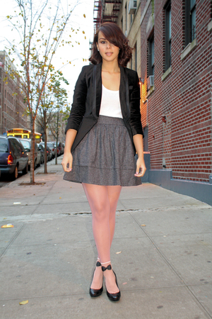 pink American Apparel stockings - black Zara blazer - gray Aqua skirt