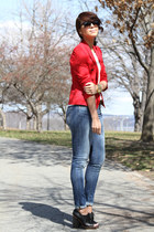 black Rachel Comey shoes - blue Levis jeans - red Zara blazer - white American A