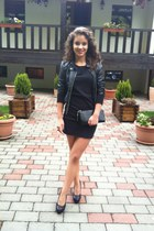 black dress - black jacket - black heels