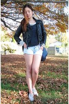 moto jacket - H&M top - Cheap Monday cardigan