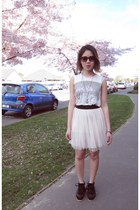 chiffon Miru White skirt - faux leather Miru White shoes