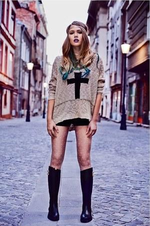 black Zara boots - black basic Topshop shorts