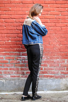 blue denim vintage jacket - black lazer cut Sugarlips Apparel pants