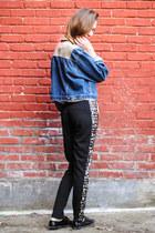 blue denim vintage jacket - black lazer cut Sugarlips Apparel pants