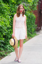 white Choies shorts - beige Forever 21 hat - white Choies top