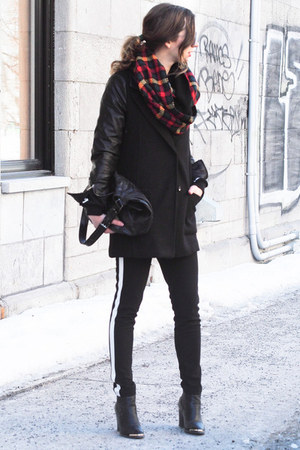 black Choies coat - black romwe sweater - red plaid JJLouis scarf
