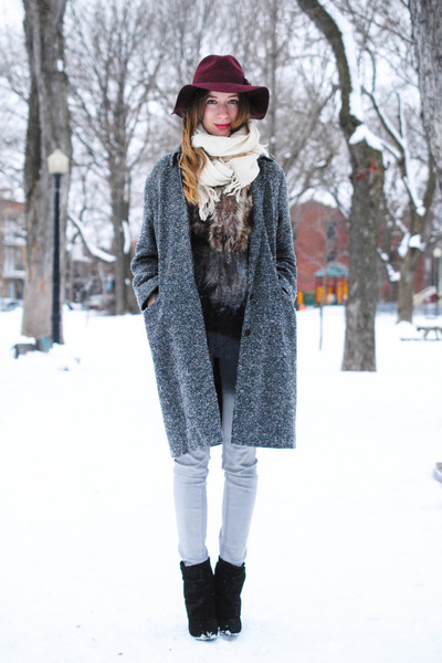 charcoal gray vintage coat - black Steve Madden boots