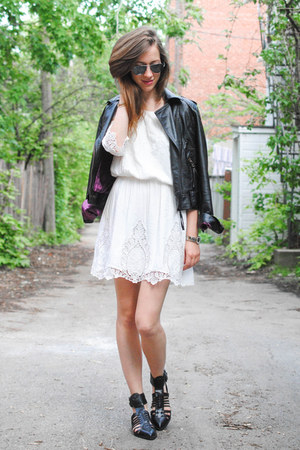 black leather twik jacket - white lace crop top Sugarlips Apparel dress