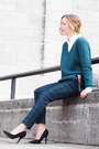 Teal-simons-sweater-white-424-fifth-shirt-teal-smart-set-pants