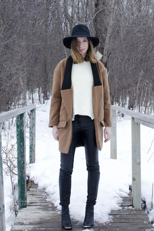 brown Choies coat - black Boohoo boots - black Forever 21 hat