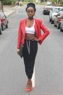 Red-forever-21-jacket-red-valentino-sandals-black-primark-pants