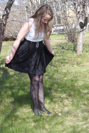 black skirt - black panties - black shoes - white top