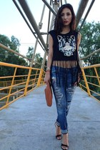 hollister jeans - gray Forever 21 shirt - black June heels