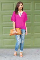 hollister jeans - hot pink Forever 21 blouse - bronze coach wedges