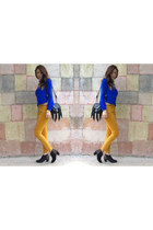 black Forever 21 boots - light orange Forever 21 jeans - blue Forever 21 blouse