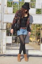 Forever 21 hat - Michael Kors boots - AG shorts - Forever 21 cardigan
