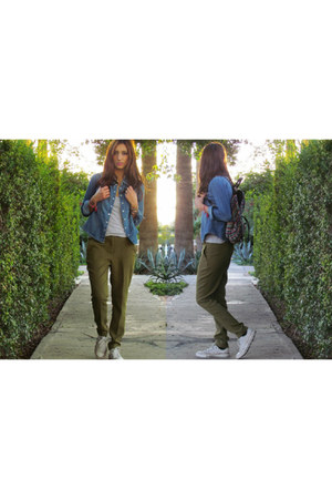 ruby red Forever 21 bag - army green Forever 21 pants - white Converse sneakers
