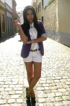 white pull&bear shirt - purple Stradivarius blazer - white BLANCO shorts