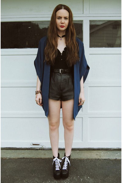 black vintage shorts - navy gifted OASAP jacket - black OP bodysuit