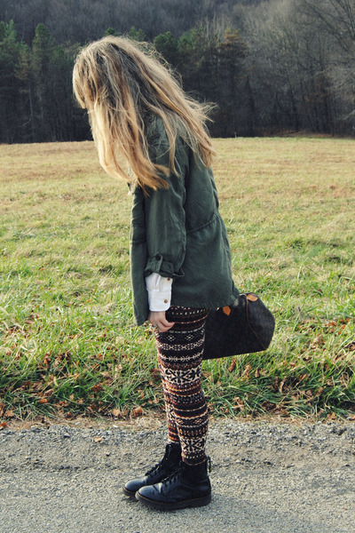 dark green Ebay pants - black doc martens boots