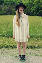 white gifted OASAP dress - black gypsy warrior hat