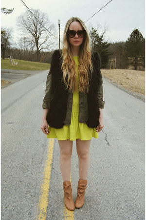 camel Urban Outfitters boots - yellow Boohoo dress - army green blank nyc jacket