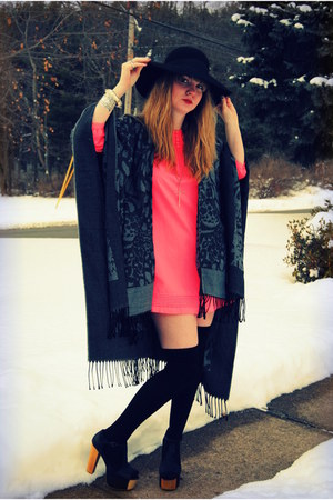 black Jeffrey Campbell shoes - hot pink H&amp;M dress - black Forever 21 hat - black