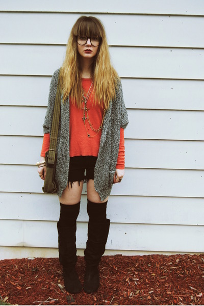 gray Forever 21 sweater - carrot orange Society of Les shirt - army green Fossil