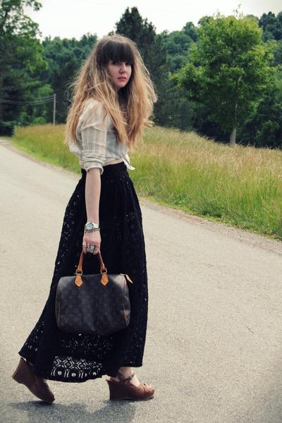 off white hollister shirt - dark brown speedy 30 Louis Vuitton bag - black evil