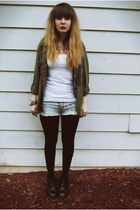black doc martens boots - army green American Eagle jacket - silver Forever 21 n