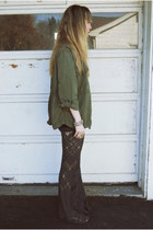 dark green American Eagle jacket - gray lace free people pants