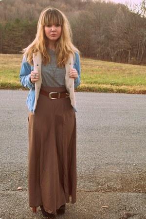 sky blue Aeropostale jacket - light brown Forever 21 skirt - charcoal gray Targe