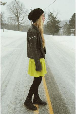 black Dr Martens boots - yellow Boohoo dress - black H&M hat