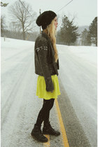 black Dr Martens boots - yellow Boohoo dress - black H&M hat
