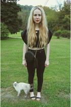 black gifted Kill City jeans - black Nasty Gal shirt - black Nasty Gal purse