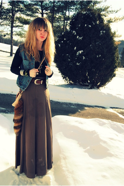 blue diy vintage vest - black foxy platforms Jeffrey Campbell shoes