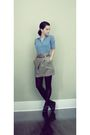 Gray-random-brand-high-waist-skirt-blue-vintage-shirt-black-vintage-wedges-s