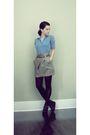Gray-random-brand-high-waist-skirt-blue-vintage-shirt-black-vintage-wedges-s
