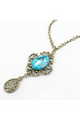 Turquoise-gem-diamond-petal-necklace