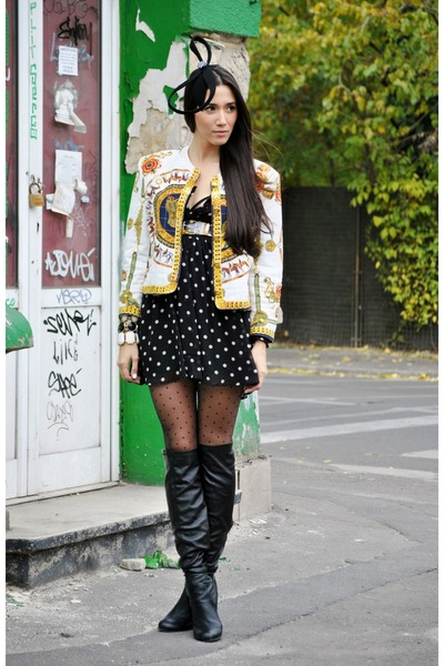 yellow Hermes jacket - black leather bronx boots