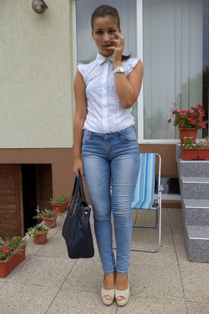 sky blue Fox jeans - white Bossini shirt - navy Furla bag